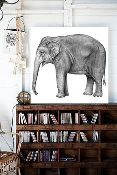 Replace the elephant with a (white) tiger or a black panther and this would be great! I love bookshelves.