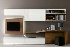 Parete attrezzata con scrittoio 528 - NAPOL ARREDAMENTI Modern Home Interior Design, Home Office Design, Interior Design Living Room, House Design, Desk In Living Room, Home And Living, Hall Furniture, Muebles Living, Tv Unit Design