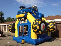 Awesome Bounce Blue Monster Truck Bounce House