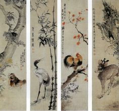(Korea) Folding Screens by Owon Jang Seung-eop (1843- 1897).