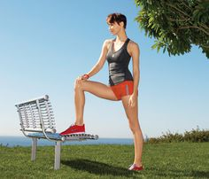 Outdoor Bench Moves | Do your fave cardio (swim, bike, run, Spin) for 45 to 60 minutes at a level 3 or 4. (On a scale of 1 to 10, 1 is the effort it takes to ride the bus and 10 is the effort it takes to throw the bus in the air.)