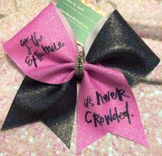 Bows by April - Go the Extra Mile It's Never Crowded Lt. Pink and Black Glitter Iridescent Cheer Bow, $17.00 (http://www.bowsbyapril.com/go-the-extra-mile-its-never-crowded-lt-pink-and-black-glitter-iridescent-cheer-bow/)