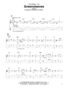 Jeff Beck Group: Greensleeves - Partition Tablature Guitare - Plus de 70.000 partitions à imprimer !