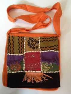 Orange Squares Indian Cotton Sequin Brocade Hippy Boho Shoulder Messenger Bag