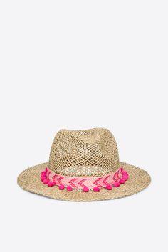 Sombrero de paja con pompones, beige, hi-res