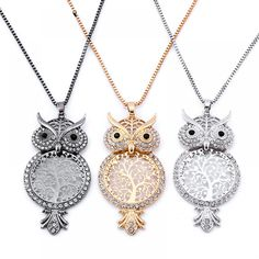 New Arrival Long Sweater Chain Necklace Austria Rhinestone Animal Owl Big Pendant Necklace Jewelry For Female Circle Pendant Necklace, Owl Necklace, Girls Necklaces, Vintage Necklaces, Necklace Price, E Bay, Crystal Rhinestone, Sweater, Chain