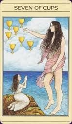 Apple River Tarot Readings: Seven of Cups - How Can I Connect With My Sacred P. Seven Of Cups, Lotus Tarot, Divine Tarot, Free Tarot Reading, Daily Tarot, Castle In The Sky, Hero's Journey, Tarot Readers, Oracle Cards