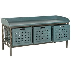 Safavieh Isaac Teal Wooden Storage Bench | Overstock.com Shopping - The Best Deals on Benches