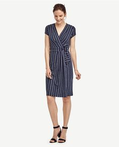 Primary Image of Dot Pleated Wrap Dress