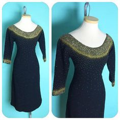 Voluptuous DIVA 1950s 1960s Gene Shelly Black knit by hipsmcgee