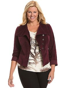 The classic corduroy jacket comes to life with a modern asymmetric cut and oversized lapels.  Contoured seaming defines the fit to flatter curves, ending in a pointed hem in front. Button front closure and faux pockets complete the look. lanebryant.com