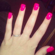 I love hot pink nails :)  breast cancer awareness