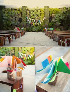 love the idea of benches as opposed to white chairs... DIY Beatles Wedding at the Smog Shoppe: Melissa + Chris