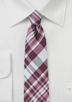 Dark Wine Red Cotton Plaid Tie