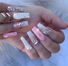 Nail art Christmas - the festive spirit on the nails. Over 70 creative ideas and tutorials - My Nails Swarovski Nails, Crystal Nails, Rhinestone Nails, Bling Nails, Stiletto Nails, Swag Nails, 3d Nails, Swarovski Crystals, Bling Nail Art