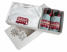 Daisy Roots London Bus set. www.daisy-roots.com Baby Christening Gifts, London Bus, Roots, Daisy, Fashion, Moda, Fashion Styles, Margarita Flower, Daisies