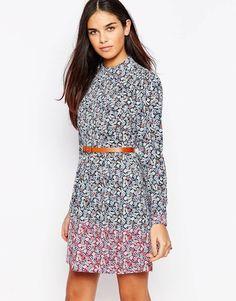 Image 1 ofWarehouse Ditsy Print Skater Dress