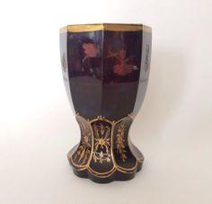 Antique Friedrich Egermann Etched Gilt Ruby Glass Allegory Beaker / Goblet