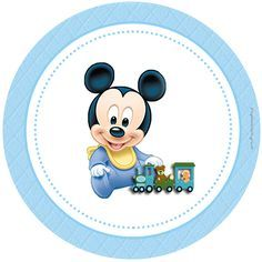 """Personalized """"Mickey Mouse Baby Disney"""" Kit for Print - Simple Digital Invitations Baby Mickey Mouse, Festa Mickey Baby, Fiesta Mickey Mouse, Mickey Mouse First Birthday, Mickey Party, Minnie Mouse Party, Mickey Minnie Mouse, Baby Shower Deco, Baby Boy Shower"""