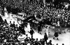 Social History, Suffragettes, 1913, The funeral of Miss Emily Davidson who was killed as she ran out in front of the King's horse during the Derby at Epsom. A leading member of the Suffragette movement, Miss Davidson committed suicide to draw attention to the debate on votes for women.