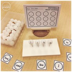 A Pinch of Kinder - Sight Word Snowballs - Pick a sight word. Can you make the sight word on the golf tees with the ping pong balls? Can you record the sight words that you made? Sight Word Games, Sight Word Activities, Sight Words, Language Activities, Kindergarten Writing, Kindergarten Literacy, Abc Phonics, Winter Words, New Year Fireworks