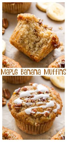 There's nothing like biting into one of these freshly baked maple pecan banana muffins! Easy, simple, homemade goodness in less than 30 minutes. These maple pecan muffins are a hit with the whole family! Muffins Blueberry, Banana Muffins 2 Bananas, Eggless Banana Muffins, Muffin Recipies, Best Banana Muffin Recipe, Yummy Treats, Yummy Food, Healthy Food, Morning Glory Muffins