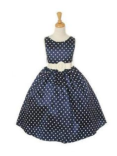 polka dot flower girl dress navy - wedding