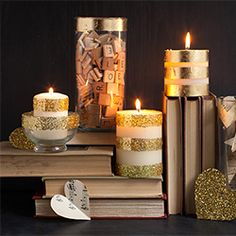 An easy way to add glam to your candles with glitter and gold foil. Great for adding sparkle to your home decor, party, or wedding decoration