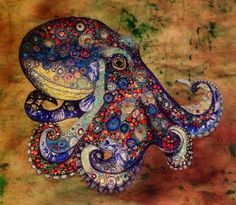 Textile art - Octopus.  Artist Sophie Standing creates explosively colourful textile collages of animals.