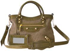 Balenciaga Giant 12 Gold Town Almond Green Canvas Shoulder Bag