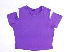 90's Cyber Cut Out Purple Cotton Crop Top by FeelingVagueVintage, $36.00