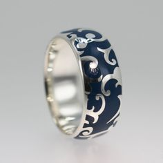 Blue Enamel Ring - Gold Wedding Band with Carved Pattern - OOAK - Originally designed  for Kys Realm e-Books and Video Games