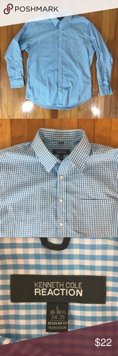 Men's Kenneth Cole Reaction shirt Sky blue and white gingham print button down shirt. Regular fit, 100% cotton, non iron. Like new condition. Size on tag is L 16-16.5 34-35. {PP} Kenneth Cole Reaction Shirts Dress Shirts