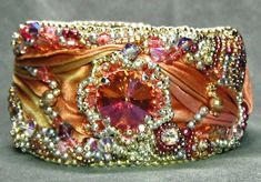 bead embroidered shibori  | Gallery - Bead Embroidery and Rivolis | Beaded Jewelry Diva