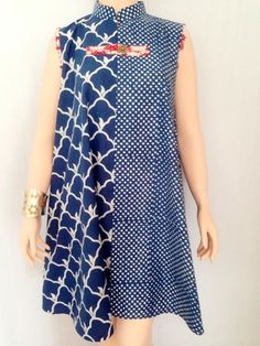 SHINTA DRESS Biru Batik Fashion, India Fashion, African Fashion, Blouse Batik, Batik Dress, Kurtha Designs, Batik Kebaya, Amarillis, Dress Cuts