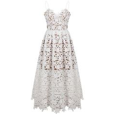 Elegant Women Strap Lace Crochet Solid V Neck A-Line Party Dress (381.365 IDR) ❤ liked on Polyvore featuring dresses, lace dress, white a line dress, white midi dress, white crochet dress and lace sleeve dress