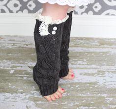 Girls Leg Warmers  Knit Leg Warmers  Lace Leg by NoliePolieOlies, $14.00