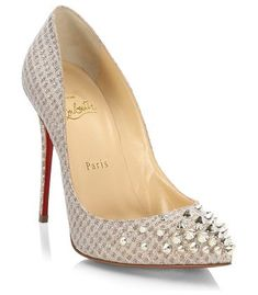 "spikyshell 100 spiked lurex pumps by Christian Louboutin. Edgy spiked studs embellish feminine lurex pump. Self-covered heel, 4"" (100mm).Lurex upper. Point toe. Leather lining. Signature red leather sole. Made in Italy. #christianlouboutin #nudeshoes #pumps #heels"