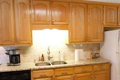 how to put backsplash in kitchen granite with oak what color light or kitchens 8835