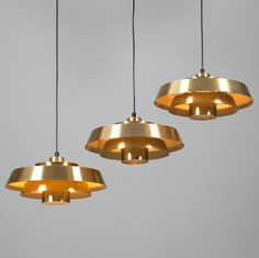 Jo Hammerborg; Brass 'Nova' Ceiling Lights for Fog and Mørup, 1963.