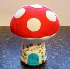 Mushroom house felt embroidered pincushion toy by Hippywitch