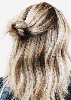 short hair half bun + waves