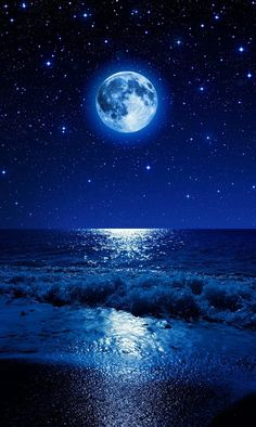 Photo Beach Shower Blue Moon Art Pictures Beautiful Night Quotes