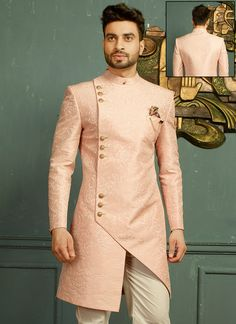 Imported Fabric Pink Indo Western For Wedding African Wear Styles For Men, African Shirts For Men, African Dresses Men, African Attire For Men, African Clothing For Men, Mens Wedding Wear Indian, Wedding Dresses Men Indian, Indian Groom Wear, Wedding Dress Men