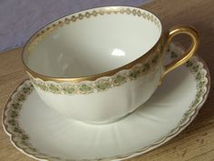 antique tea cup and saucer set green 3 leaf by ShoponSherman, $36.00