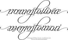 'memento vivere' and 'memento mori' ambigram