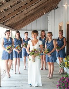 #blue #wedding #decor #bridesmaid dresses