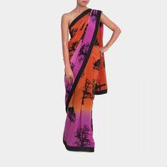 Orange and pink shaded black tree print saree #india #indian #designer #design #sari #crepe #party