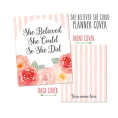 Personalized Planner Cover - She Believed She Could. Choose Cover only or Cover…