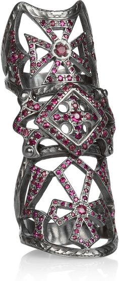 Loree Rodkin 18-karat rhodium white gold ruby armor ring.